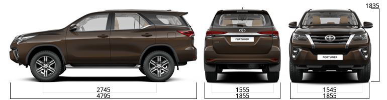 toyota fortuner sizes